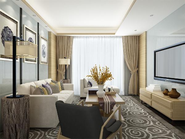 客厅的设计特别温馨,原木色为主,体现了中式的大气,电视背景墙和沙发背景墙都用了天蓝色玻璃处理,使客厅不沉闷有些现代的味道,让客厅又有中式的精华也有现代的韵味,更加体现出了新中式设计风格的新。