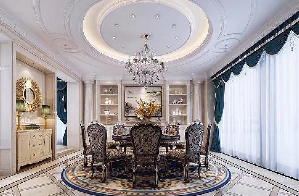 保利凤凰湾欧式美式风格装修餐厅