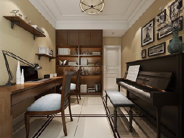 书房是整套居室中最安静的一个空间,多抽屉的书桌设计提供了更多的收纳空间。一台立式钢琴,可以推断出主人定是品味非凡。