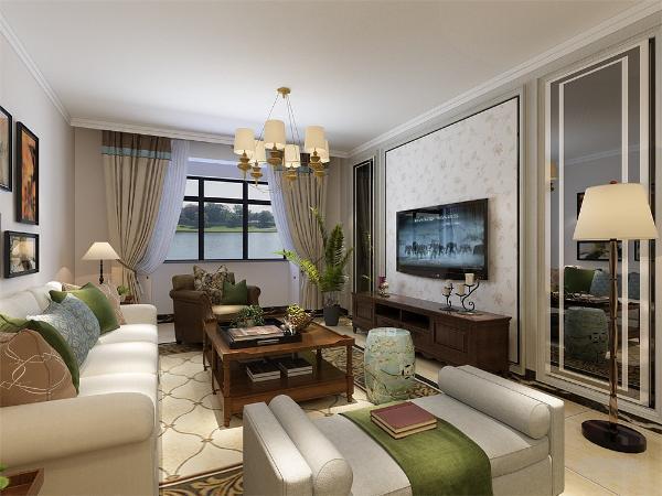 客厅采用800*800瓷砖正铺,,电视背景墙贴有欧式石膏线