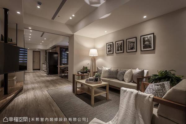 谢张志升与林宗仪设计师重新擘划空间的使用关系,将原有的商空转化为住宅空间,并挹注温婉的舒适氛围,提供屋主退休后的生活场域。