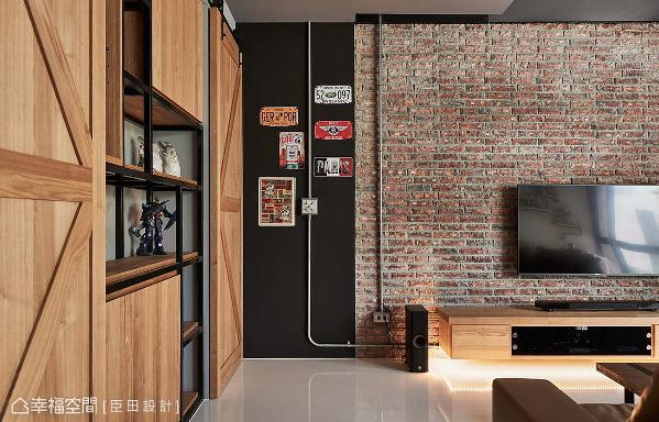 臣田设计选用火头砖堆砌电视主墙,创造张力十足的视觉效果,为工业风主题揭开序幕。