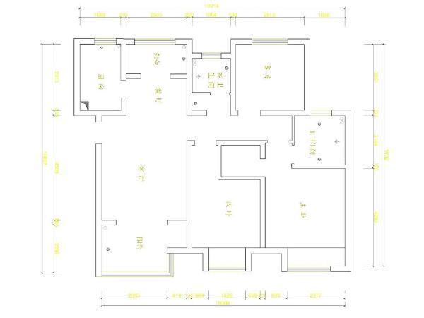 郑州实创装饰—雅居乐国际花园138平装修效果图—原始户型图