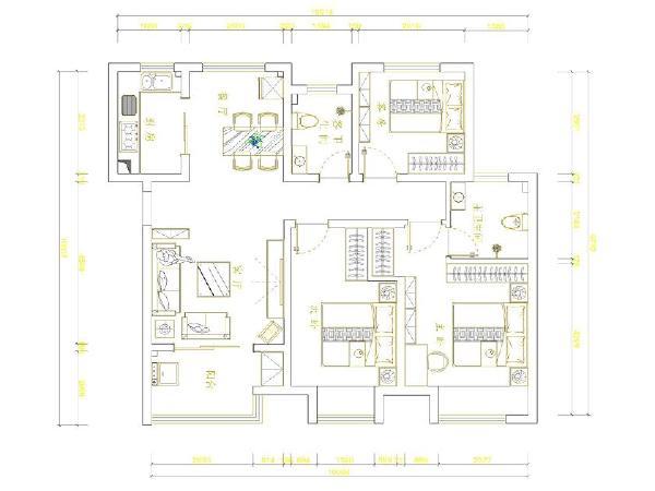 郑州实创装饰—雅居乐国际花园138平装修效果图—平面布置图