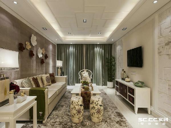 郑州实创装饰—雅居乐国际花园138平装修效果图—客厅设计
