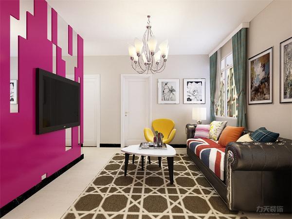 客厅的设计采用鲜亮的颜色,电视背景墙用了反射很强的的接近镜面的材质,粉白搭配,线条感十足,为了增加空间没有做电视柜,整个背景墙更有特色,沙发没有选择为皮制,很大胆的色彩和样式。