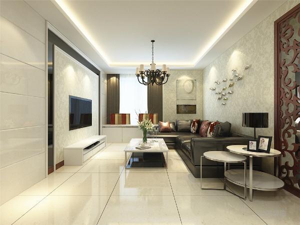 客厅我们在设计上选择了全屋的壁纸, 地砖的采用使得材质更加丰富, 使用了黑色皮质沙发与白色大理石茶几搭配, 在配色上显得更加大方华贵。 使用了回字形吊顶,让空间调高显得更高更大