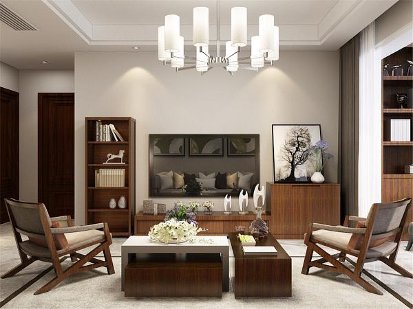 客厅是布艺和木材组合沙发,简约舒适,电视背景墙没有过多造型,只是简单的放置了柜子,方便存储杂物,实用性较强,沙发背景墙放置了三幅挂画,清新淡雅,提升整个空间的档次。