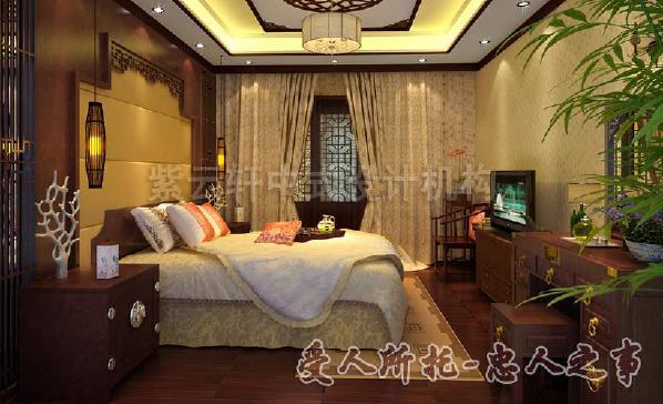 木质地板色彩鲜明,青花翠竹,端庄富贵,大气高贵,有助于主人家好眠