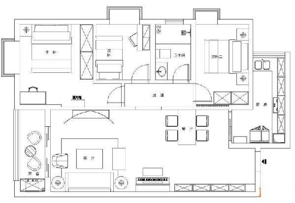 花果园91平现代美式风格装修户型图