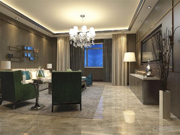 客厅的电视背景墙,合理利用了空间,增加现代简约感。沙发背景墙,用现代感钢架饰品做装饰,使空间更具现代感,色调统一,给人一种温馨视觉感受,简单大方,和布艺家具协调统一,营造出温馨的气氛