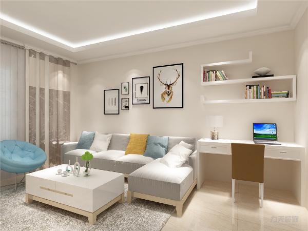 客厅作为待客区域,空间布局合理,用白色地砖与软装和灯有点地中海的风格,使整体看着宽敞明亮颜色搭配分明。墙面采用中性色的乳胶漆,这样使视觉上有温馨感,色彩也更加丰富。
