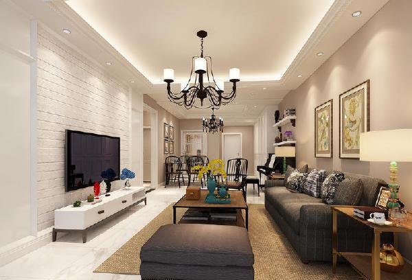 花果园91平现代美式风格装修客厅