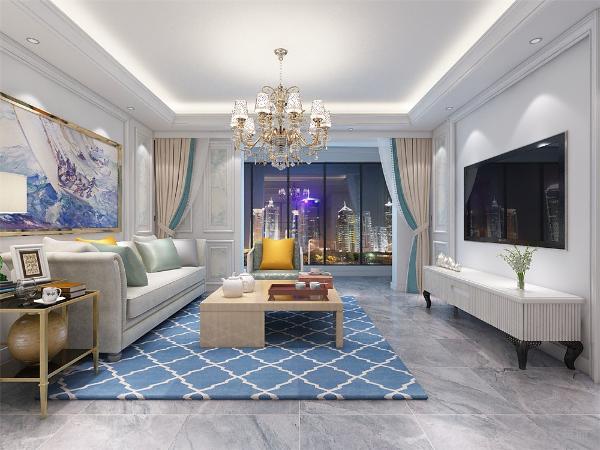 客厅的墙面做了一些很经典的欧式造型,附了墙纸,电视背景简洁自然,沙发背景墙也是简单了挂了一幅画,营造一下艺术的氛围。顶部造型很简单,简单的石膏线造型。餐厅同样如此,自然典雅。