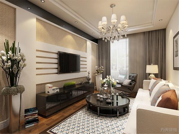 客厅用石膏板拼接做电视背景墙,只用电视柜做摆件装饰,这样节省了成本,合理利用了空间,增加实用性。沙发背景墙,用挂画和墙纸组合做装饰,使空间更明亮,色调统一,给人一种温馨视觉感受。
