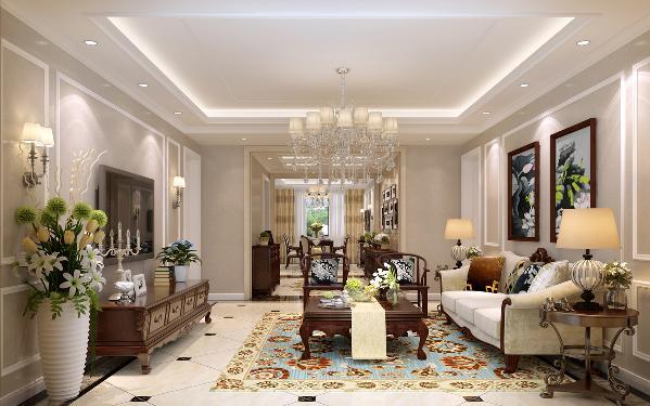 整体空间布局很大气,材质恰到好处地运用,天棚、墙面、地面的呼应,使欧式原有的奢华感、贵雅品位得到很好的延续和凸显