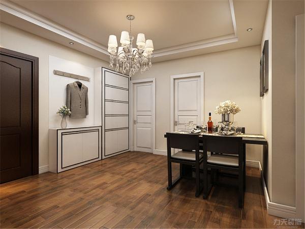 餐厅背景墙用挂画做装饰,简单大方,侧边用组合的柜子,增加装饰性,既美观又实用。