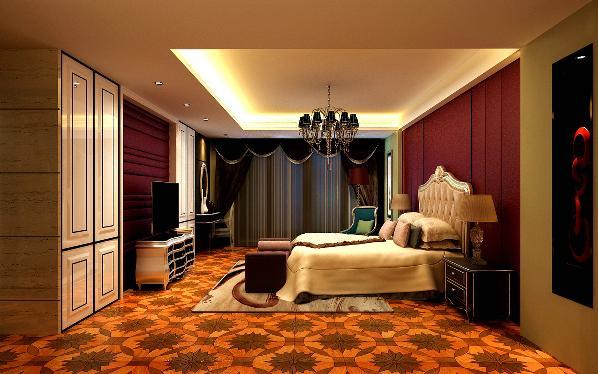 卧室爱变了原有的色调,突出表现地面和床头背景。