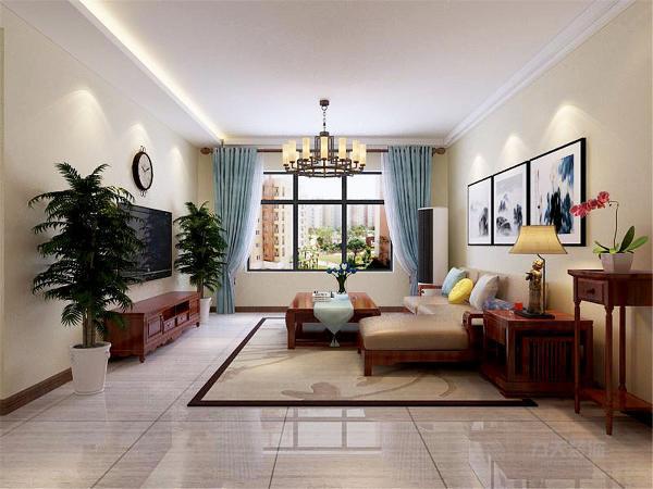 本案设计主线明亮稳重,业主先生与女士相对喜欢稳重深色系家具,因此设计师从新中式风格出发从设计角度将客厅吊顶做了一个一字型灯带石膏板。