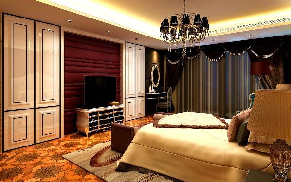 主要材料为石材,壁布软包,拼花地板,顶面主要意识高吊顶,石膏线乳胶漆。