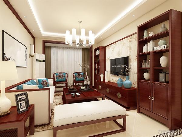 厅电视背景墙采用传统中式木条纹,做成屏风式背景墙,简单的装饰画,给人一种古典美的感觉。沙发背景墙与之相呼应,使得整个房间层次分明,充满古色古香的韵味。中式的家更添加浓浓的色彩。
