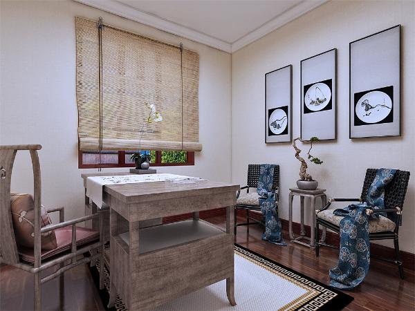 次卧做成中式书房,传统的的中式书桌,唯美的挂画,显示主人的文化涵养。