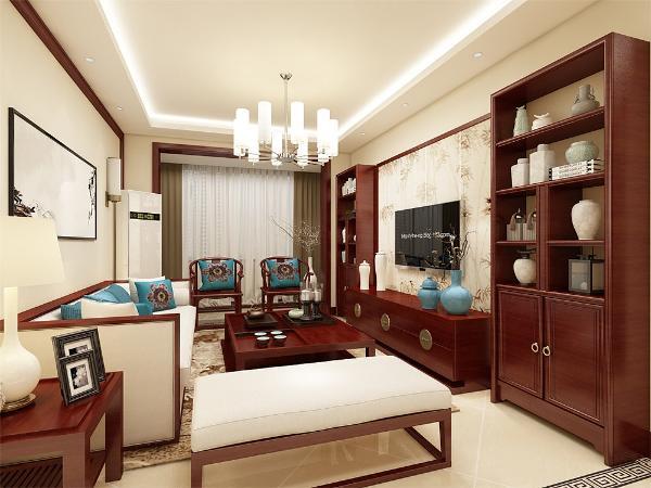 客厅电视背景墙采用传统中式木条纹,做成屏风式背景墙,简单的装饰画,给人一种古典美的感觉。沙发背景墙与之相呼应,使得整个房间层次分明,充满古色古香的韵味。中式的家更添加浓浓的色彩。