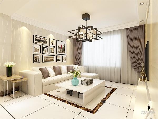 本案的设计为现代简约,客厅面积较小,所以只放了一个拐角沙发,茶几的选择也为硬线条,简单的样式,沙发背景墙没有做过多的设计,只是贴了壁纸,挂了挂画,电视背景墙做了造型。