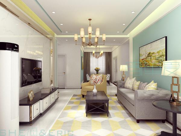 电视背景墙:五种材质的惬意组合及背景墙的轻微凹凸变化是本案设计的点睛所在。另外,为营造出舒适淡雅的视觉感受,沙发背景墙及餐厅背景墙大面积涂刷了考究的灰绿色墙漆。