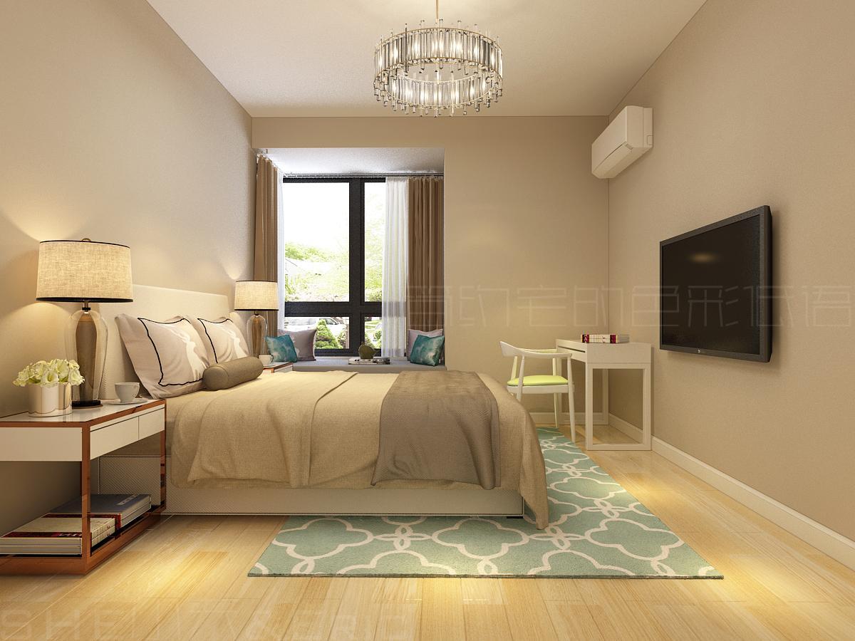 家装墙面乳胶漆_首页 装修效果图 从墙面乳胶漆到床品再到台灯灯罩均采用了米色系