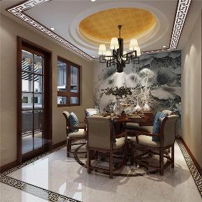 龙发装饰 润泽尚苑 别墅 中式 美式 餐厅图片来自龙发装饰天津公司在润泽尚苑280平米新中式风格的分享