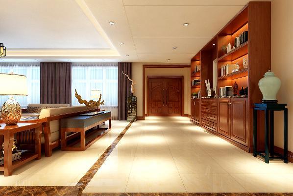 一层门厅作为整栋别墅的主纳气口,要简单大方,而且从使用角度上讲,鞋帽柜功能多样化,同时也和客厅背景墙形成虚实统一的呼应。