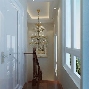龙发装饰 润泽尚苑 别墅 中式 美式 楼梯图片来自龙发装饰天津公司在润泽尚苑280平米新中式风格的分享