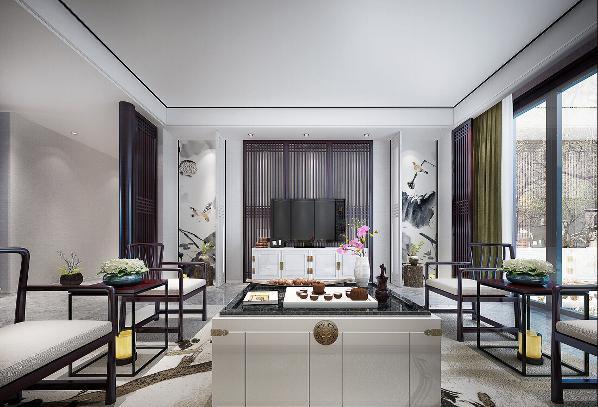 客厅中式设计效果图