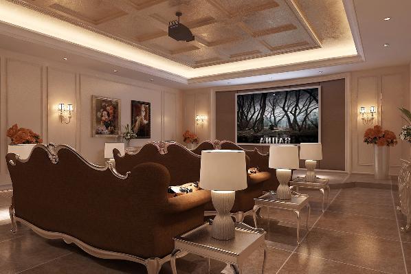 地下一层影音室:整个空间惬意舒适,全家人围坐在一起看电影,其乐融融的氛围令人沉醉着迷。