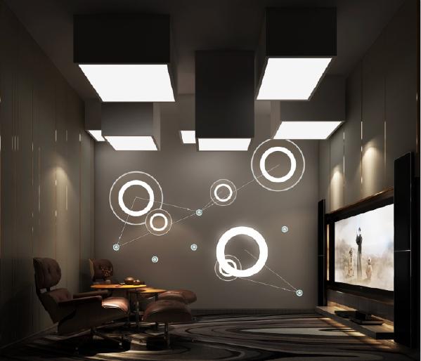 影音室高低错落的天花既能调节声场的反射波,又能创造不一样的空间效果。