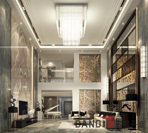 客厅运用大体量的块状造型增加视觉张力,灰镜与银镜的搭配在延伸视觉的同时产生层次变化的视觉效果;