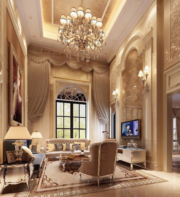 一层客厅:简洁而不简单的奢华设计,利用石材的优质质感,和整体的软装搭配,烘托了浓厚的高贵美式氛围。