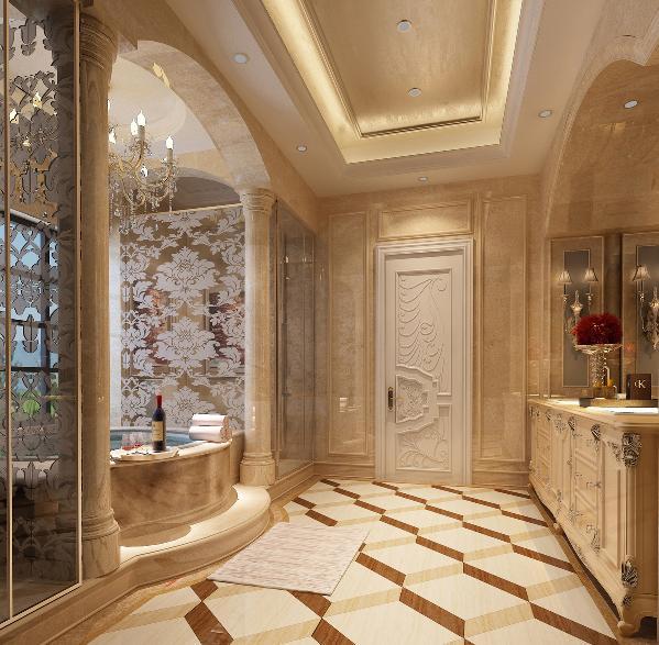 二层卫生间:立柱加上弓形设计格外的高端大气,暖色调的气氛烘托,使泡澡的身体享受和视觉享受共鸣共享。