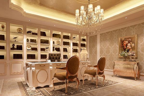 地下一层书房:简洁大气的书香氛围,让人坐下来就想安静的品读自己所收藏文学论文。