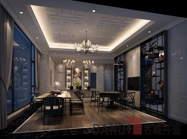 餐厅的六人桌是西式大菜的标配,也呈现出浓浓的家庭氛围,落地玻璃窗气到了借景的作用;