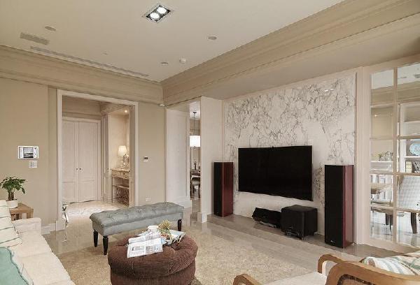 保利国际220平美式风格装修客厅
