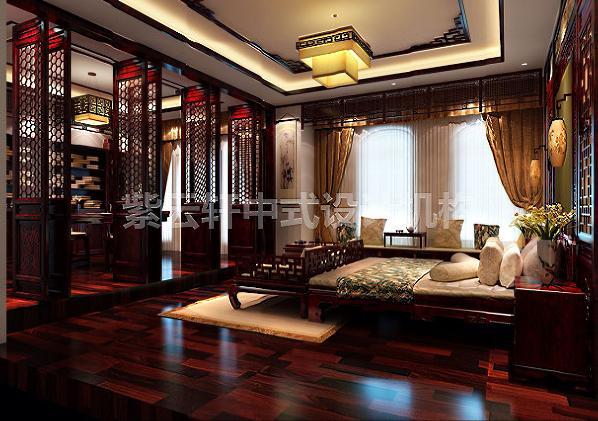 乔先生非常满意的主卧简约而不失厚重,色调微暗却更显温暖。纯实木地板,整套红木床榻,飘窗之上置一小桌,偶尔临窗小酌,颇有意趣。与书房相隔开的是精工的八扇红木古典双开门,典雅极了。