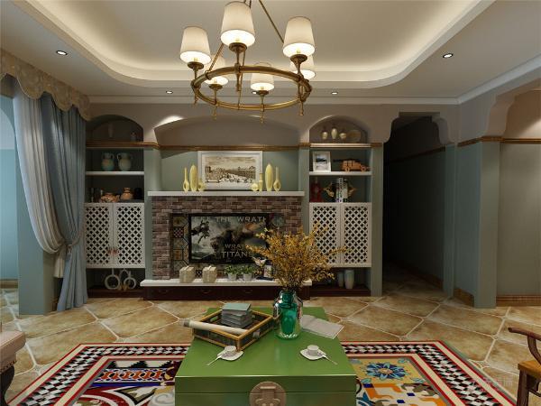 客厅作为待客区域,要明快光鲜,用木地板,使整体上有一种宽敞而富有历史气息。墙面顶面采用上下两种颜色,这样使视觉上具有层次感,色彩也更加丰富。加上了建筑的壁纸显得空间更加款尚明亮。