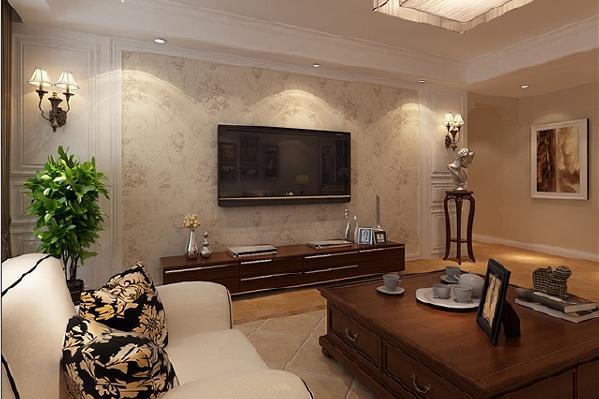 电视背景墙选用米黄色的花纹壁纸,与沙发、地砖颜色相近,展现出一派生机盎然的景象。