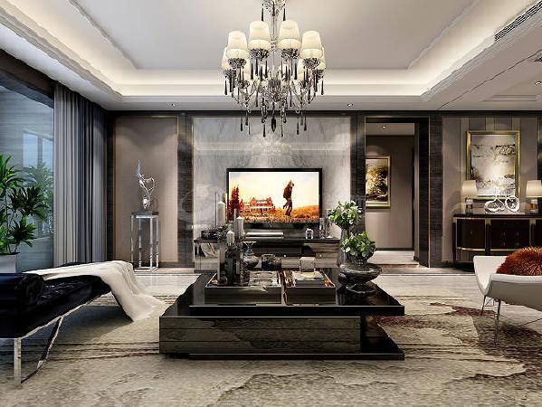 客厅布置宜简洁自然,色彩和谐,电视墙个性的线条设计凸现客厅布置强调的时尚感。
