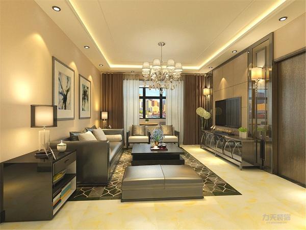客厅是设计的重点,太繁杂色颜色不仅不会增加美感,反而会使空间看起来琐碎凌乱,所以在家具的选择上比较注重造型美,颜色选择上则与客厅主颜色搭配。在电视背景墙的位置,选择了镜面和硬包的搭配,增加空间层次感。