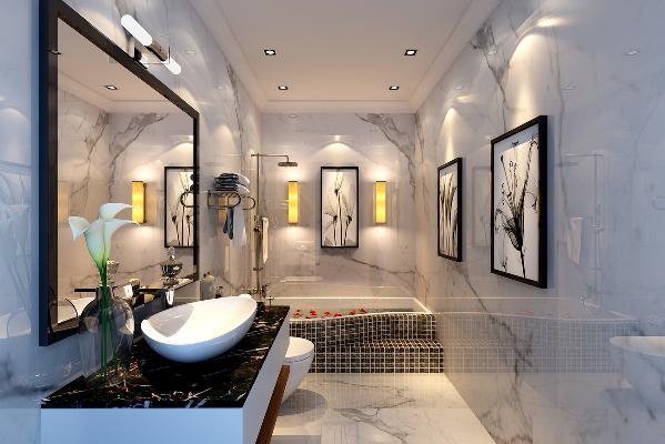 极具现代感的卫生间简洁设计,加上日式壁灯的少量日式元素点缀,最大限度的提高了空间利用率。