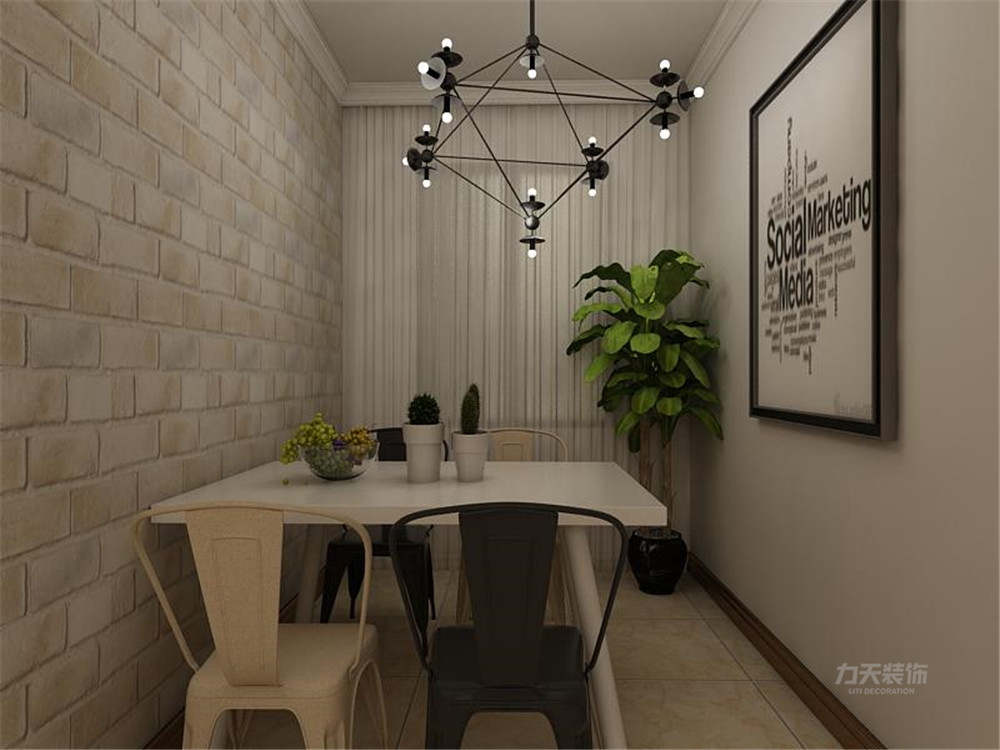 客厅的电视背景墙和沙发背景墙都做了简单的装饰,客餐厅放置了四人图片