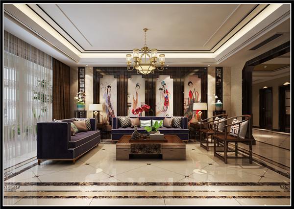 沙发背景墙用四幅仕女图结合木质边框装饰,呼应了中式禅意的主题。在着色方面仍以深咖色为主,白色为依托,仕女图、墙面和木头形成了黑白灰的微妙平衡,会让人从纯艺术的角度去观赏。更能体现内涵的奢华。